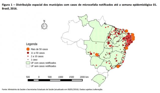 Figura 1 - Distribuição espacial dos municípios com casos de microcefalia