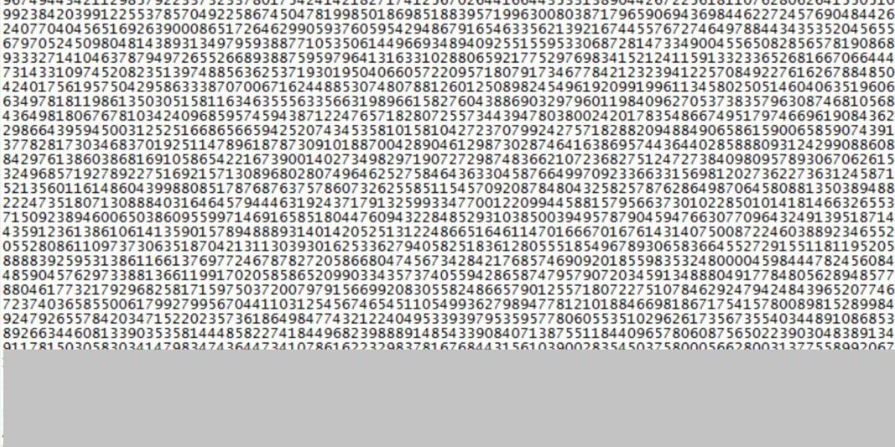 Gigantesco número primo descoberto tem mais de 23 milhões de dígitos